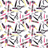 Pink and Black DIY Tools Seamless Background Pattern