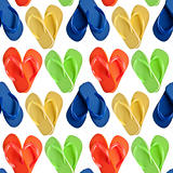 Flip Flop Sandals in Heart Shapes Seamless Background