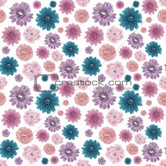 Muted Colors Seamless Flower Background