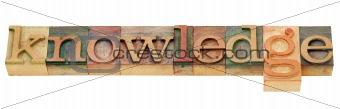 knowledge word in letterpress type