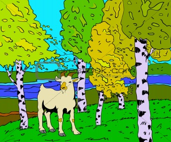 autumn sunny landscape with forest river  and goat - vector