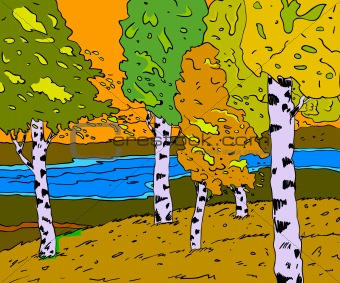 autumn sunny landscape with forest river  - vector illustration
