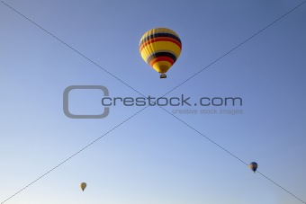 three hot air balloons clear blue sky