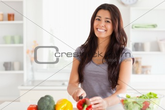Attractive woman cooking vegetables while standing