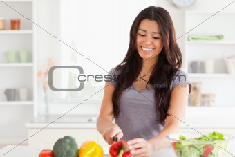 Beautiful woman cooking vegetables while standing