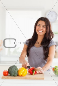 Charming woman cooking vegetables while standing