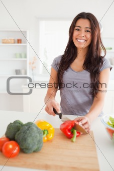 Beautiful female cooking vegetables while standing
