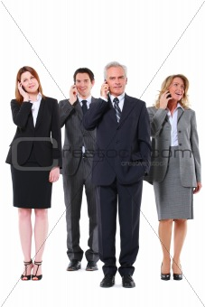 businessman and businesswoman with mobile