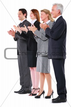 businessman and businesswoman applauding