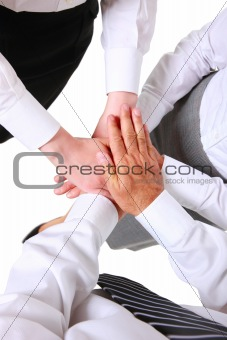 businessman and businesswoman with hands joined