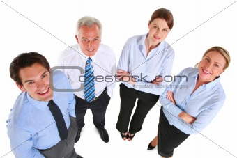businessman and businesswoman looking up seen from above