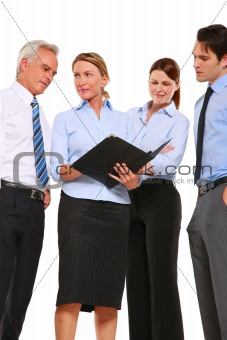 businessman and businesswoman with a work plan