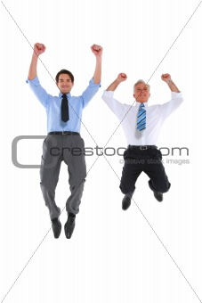two businesswoman jumping and rejoicing