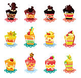 cartoon cup cake icon set