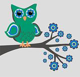a fantasy owl sitting on a branch