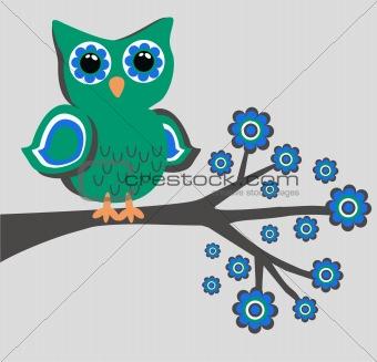 a fantasy owl sitting on a branch