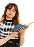 Young woman in glasses with  textbook