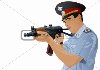 A police officer with a gun
