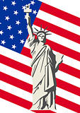 U.S. Flag and the Statue of Liberty