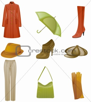 Woman fashion icon set