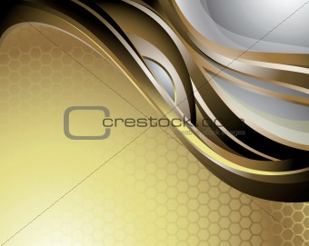 Abstract Gold Curve Background