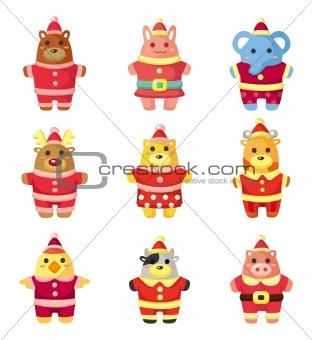 cartoon xmas party animal icons set