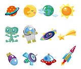 cartoon space element icons set