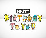 cartoon Letters Birthday card