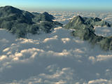 Mountain tops from above the clouds