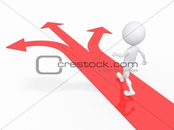 3d man with multiple arrow paths isolated on white