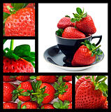 Strawberry collage - ripe fresh strawberries