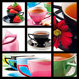 Collage of teacups in different colors