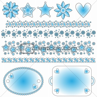 Blue and white tags, trims, flowers, stars and heart