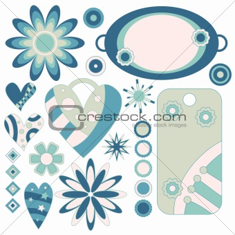 Blue and green tags, hearts and flowers