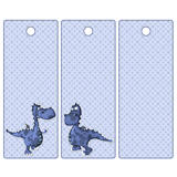 Cute tags or bookmarks with funny dragon