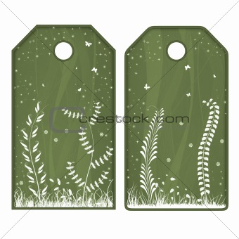 Green tags or labels with white flowers
