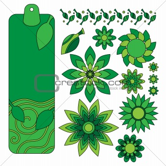Green tag, leaf and flower collection