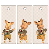 Cute tags or bookmarks with a cute pig
