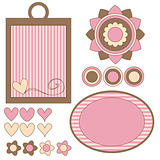 Pink and brown tags, flowers and hearts