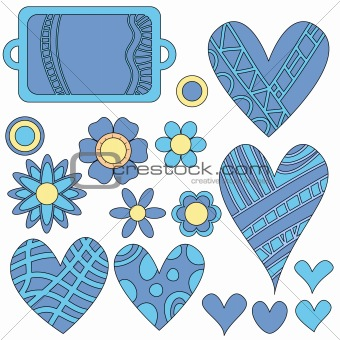 Blue and yellow tag, flowers and hearts