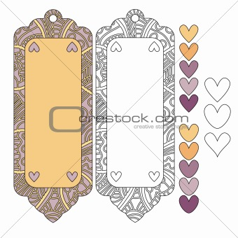Beautiful tags or labels and hearts
