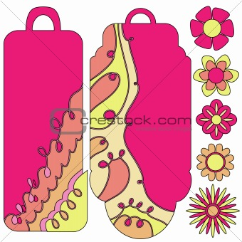Bautiful tag or label collection and flowers
