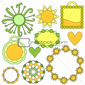 Green and yellow tags, flowers and hearts