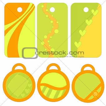 Green and orange tag or label collection