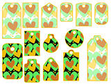 Tag or label collection with heart pattern