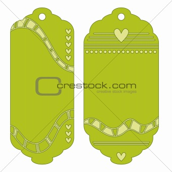 Green labels or tags with hearts, dots and stripes