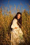 Hippie girl in the grass