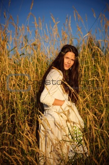 Hippie girl in the grass