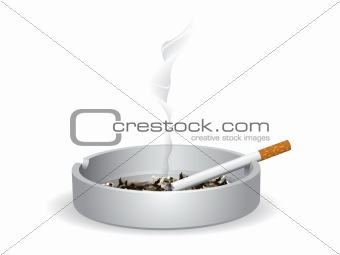 Cigarette lighted is on the ashtray