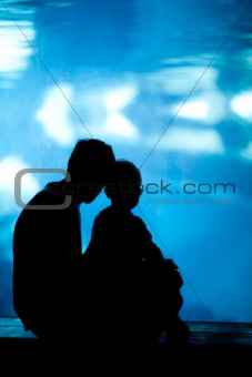 father and son in aquarium